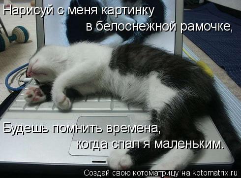 Котоматрица: Нарисуй с меня картинку в белоснежной рамочке, Будешь помнить времена, когда спал я маленьким.