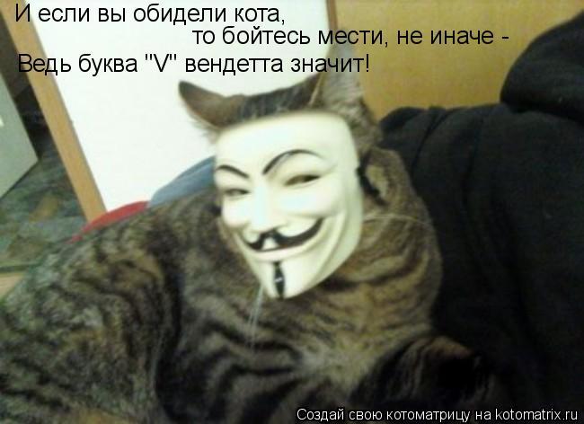 """Котоматрица: И если вы обидели кота,  то бойтесь мести, не иначе -  Ведь буква """"V"""" вендетта значит!"""