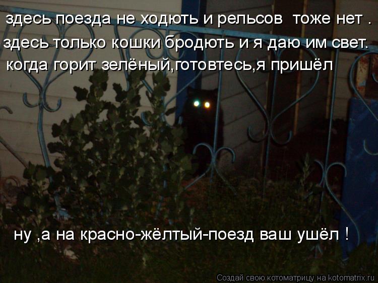 Котоматрица: здесь поезда не ходють и рельсов  тоже нет . здесь только кошки бродють и я даю им свет. когда горит зелёный,готовтесь,я пришёл  ну ,а на красн
