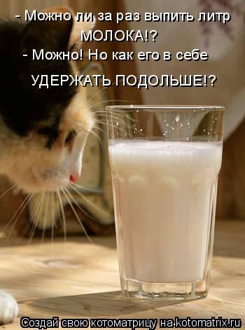 Котоматрица: - Можно ли за раз выпить литр МОЛОКА!? - Можно! Но как его в себе УДЕРЖАТЬ ПОДОЛЬШЕ!?