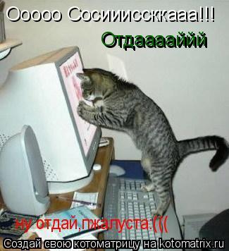 Котоматрица: Ооооо Сосиииссккааа!!! Отдааааййй Отдааааййй ну отдай,пжалуста:(((