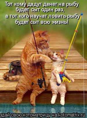 Котоматрица: Тот кому дадут денег на рыбу будет сыт один раз, а тот кого научат ловить рыбу будет сыт всю жизнь!