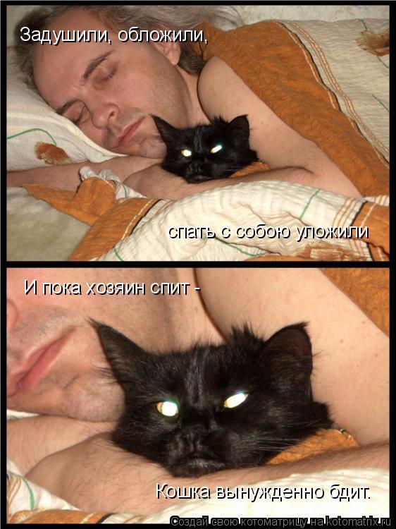 Котоматрица: Задушили, обложили, спать с собою уложили И пока хозяин спит - Кошка вынужденно бдит.