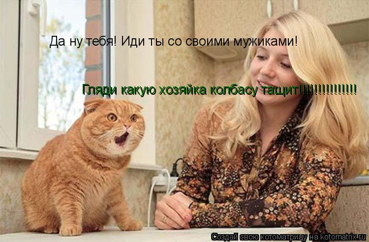 Котоматрица: Да ну тебя! Иди ты со своими мужиками! Гляди какую хозяйка колбасу тащит!!!!!!!!!!!!!!!