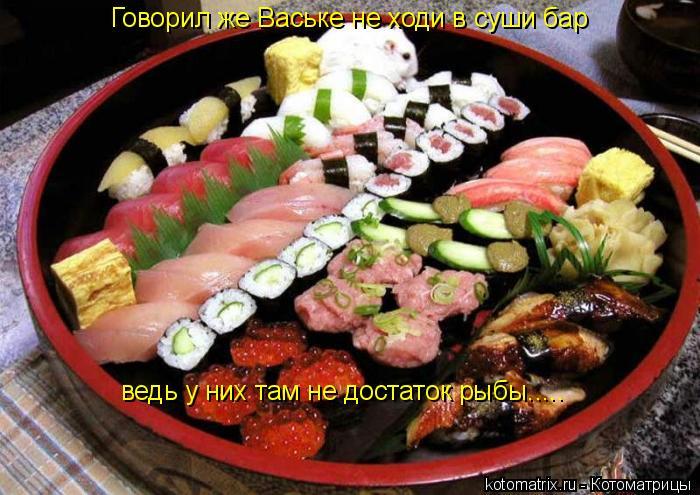 Котоматрица: Говорил же Ваське не ходи в суши бар ведь у них там не достаток рыбы.....