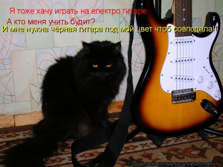 Котоматрица: Я тоже хачу играть на електро гитаре А кто меня учить будит? И мне нужна чёрная гитара под мой цвет чтоб совподала!!