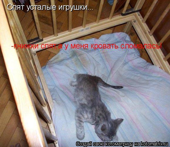 Котоматрица: Спят усталые игрушки... -книжки спят,а у меня кровать сломалась!