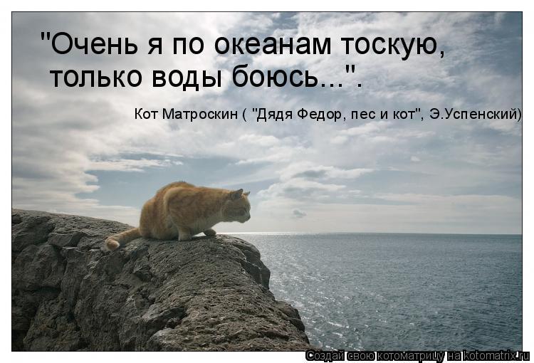 """Котоматрица: """"Очень я по океанам тоскую... только воды боюсь..."""". """"Очень я по океанам тоскую, Кот Матроскин ( """"Дядя Федор, пес и кот"""", Э.Успенский)"""