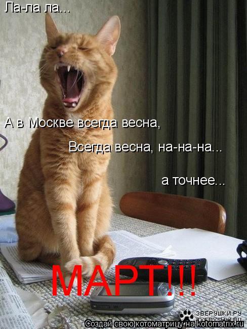 Котоматрица: Ла-ла ла... А в Москве всегда весна,  Всегда весна, на-на-на... а точнее... МАРТ!!!