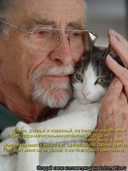 Котоматрица: Хозяин, добрый и надежный, на помойке нашел меня. Был тогда малюсеньким котенком. От роду, ну, может быть, 3 дня. Живём мы вместе много лет. За л