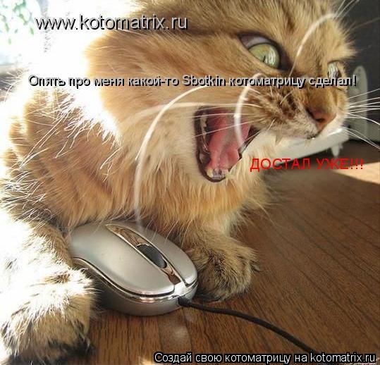 Котоматрица: www.kotomatrix.ru Опять про меня какой-то Sbotkin котоматрицу сделал! ДОСТАЛ УЖЕ!!!