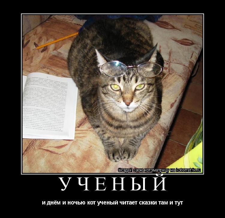 Котоматрица: учёный и днём и ночью кот ученый читает сказки там и тут
