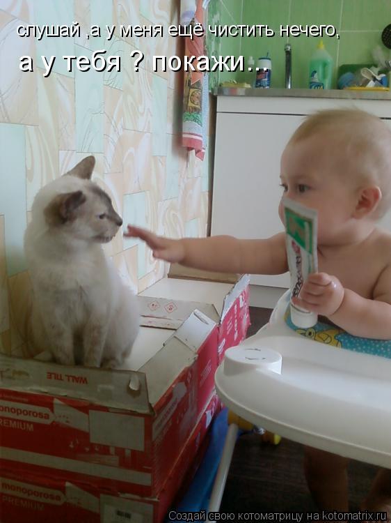 Котоматрица: слушай ,а у меня ещё чистить нечего, а у тебя ? покажи...
