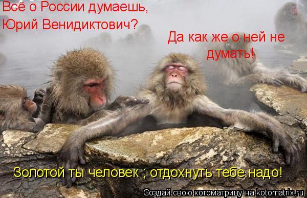 Котоматрица: Всё о России думаешь, Юрий Венидиктович? Да как же о ней не  думать! Золотой ты человек ; отдохнуть тебе надо!