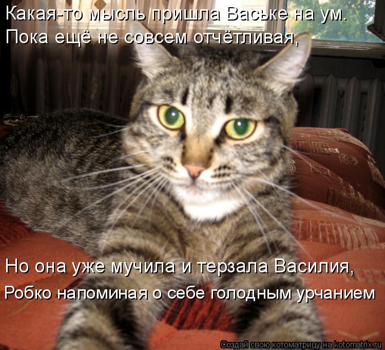 Котоматрица: Какая-то мысль пришла Ваське на ум… Пока ещё не совсем отчётливая, Но она уже мучила и терзала Василия, Робко напоминая о себе голодным урча