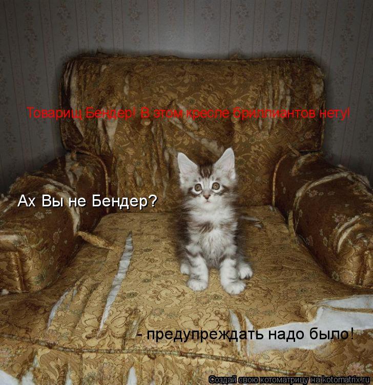 Котоматрица: Ах Вы не Бендер?  - предупреждать надо было! Товарищ Бендер! В этом кресле бриллиантов нету!