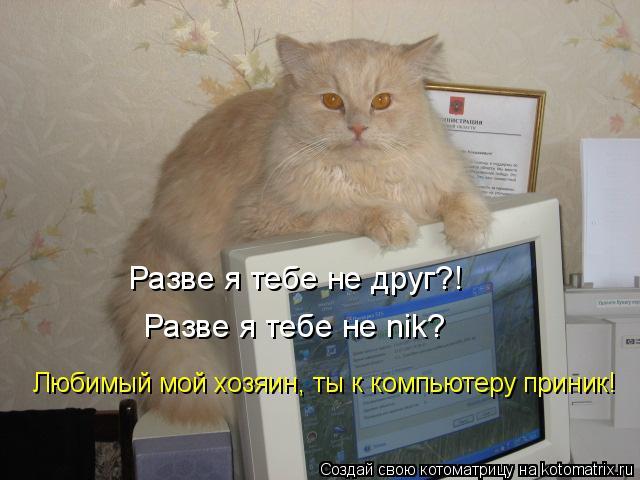 Котоматрица: Разве я тебе не друг?! Разве я тебе не nik? Любимый мой хозяин, ты к компьютеру приник!