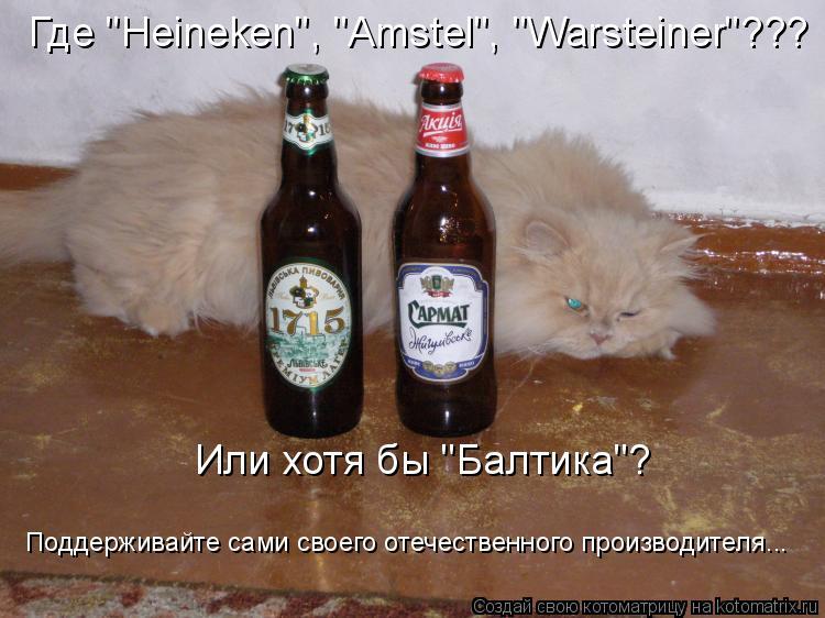 """Котоматрица: Где """"Heineken"""", """"Amstel"""", """"Warsteiner""""??? Или хотя бы """"Балтика""""? Поддерживайте сами своего отечественного производителя..."""