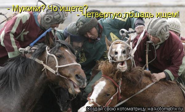 Котоматрица: - Мужики? Чо ищете?  - Четвертую лошадь ищем!