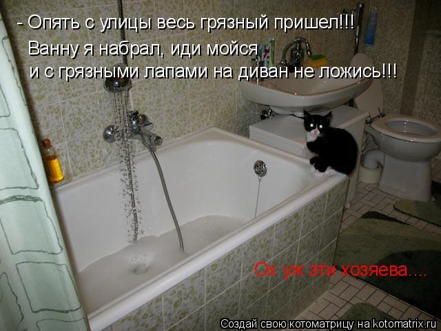 Котоматрица: - Опять с улицы весь грязный пришел!!! Ванну я набрал, иди мойся и с грязными лапами на диван не ложись!!! Ох уж эти хозяева....