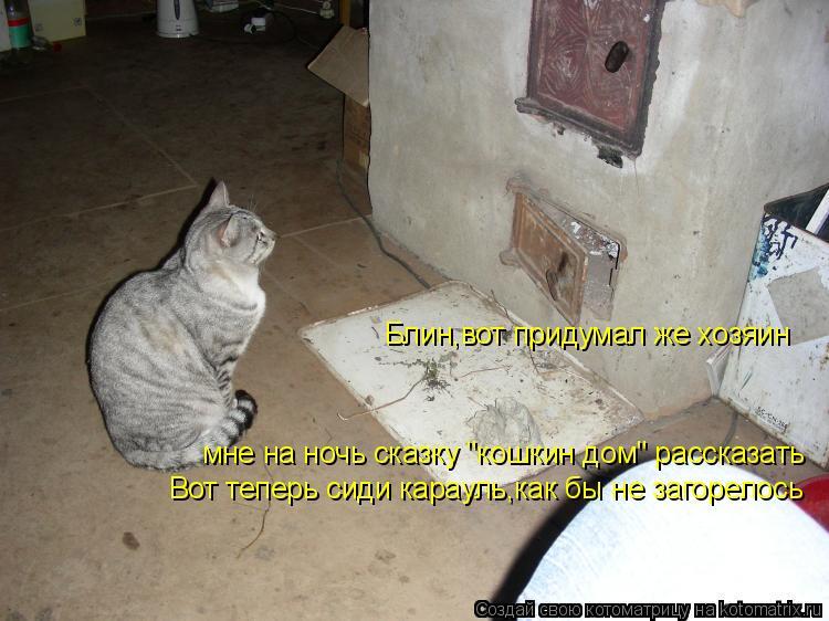 """Котоматрица: Блин,вот придумал же хозяин мне на ночь сказку """"кошкин дом"""" рассказать Вот теперь сиди карауль,как бы не загорелось"""