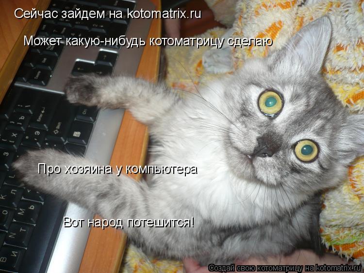 Котоматрица: Сейчас зайдем на kotomatrix.ru Может какую-нибудь котоматрицу сделаю Про хозяина у компьютера Вот народ потешится!