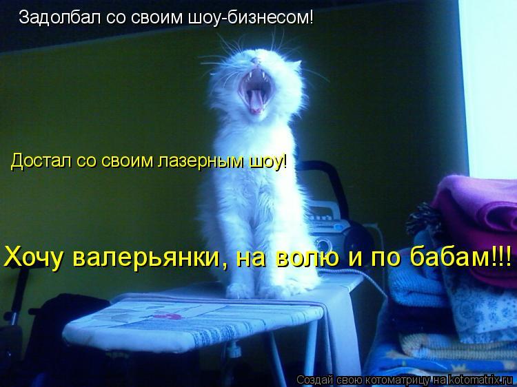Котоматрица: Задолбал со своим шоу-бизнесом! Достал со своим лазерным шоу! Хочу валерьянки, на волю и по бабам!!!