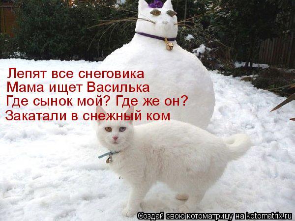 Котоматрица: Лепят все снеговика Мама ищет Василька Где сынок мой? Где же он? Закатали в снежный ком