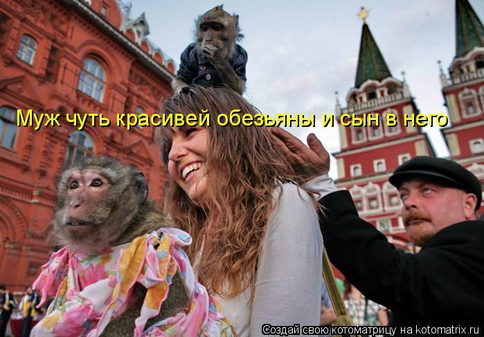 Котоматрица: Муж чуть красивей обезьяны и сын в него
