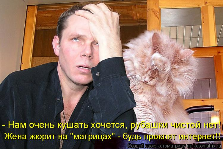 """Котоматрица: - Нам очень кушать хочется, рубашки чистой нет! Жена жюрит на """"матрицах"""" - будь проклят интернет!!"""