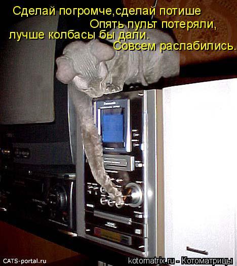 Котоматрица: Сделай погромче,сделай потише Опять пульт потеряли, лучше колбасы бы дали. Совсем раслабились.