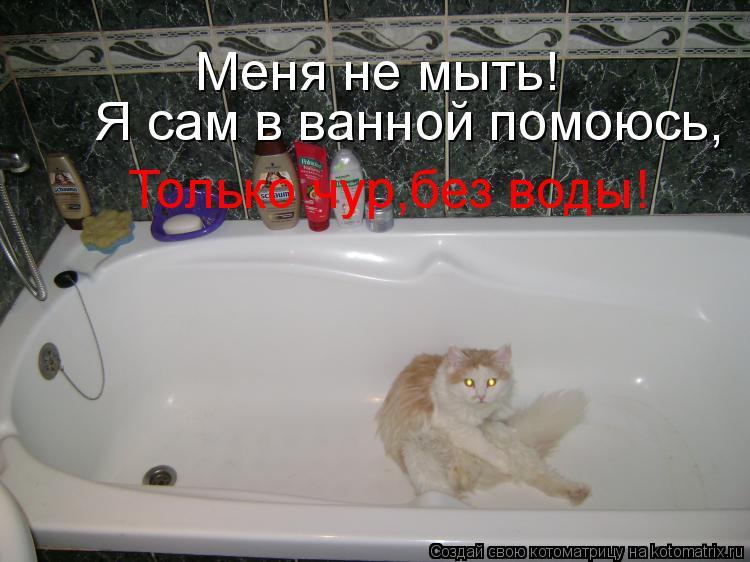 Котоматрица: Меня не мыть! Я сам в ванной помоюсь, Только чур,без воды!
