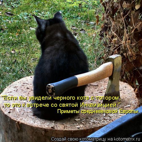 """Котоматрица: """"Если вы увидели черного кота с топором,  то это к встрече со святой Инквизицией."""" Приметы средневековой Европы."""