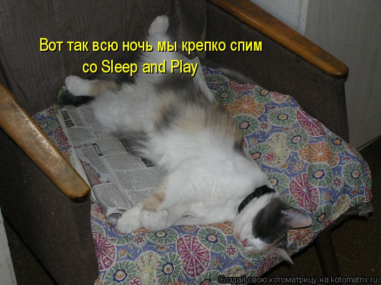 Котоматрица: Вот так всю ночь мы крепко спим  со Sleep and Play