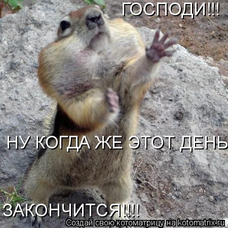 Котоматрица: ГОСПОДИ!!!  НУ КОГДА ЖЕ ЭТОТ ДЕНЬ ЗАКОНЧИТСЯ!!!! ЗАКОНЧИТСЯ!!!!