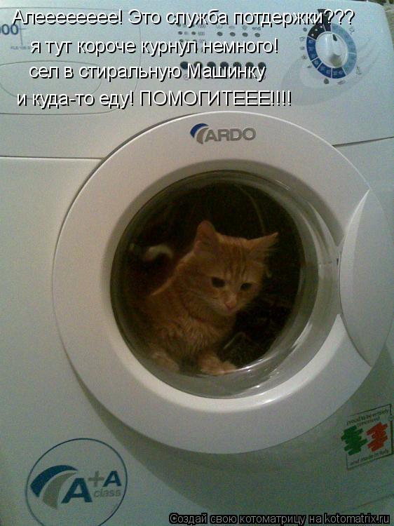 Котоматрица: Алееееееее! Это служба потдержки??? я тут короче курнул немного! сел в стиральную Машинку и куда-то еду! ПОМОГИТЕЕЕ!!!!