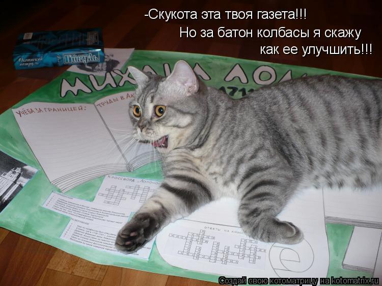 Котоматрица: -Скукота эта твоя газета!!! Но за батон колбасы я скажу как ее улучшить!!!