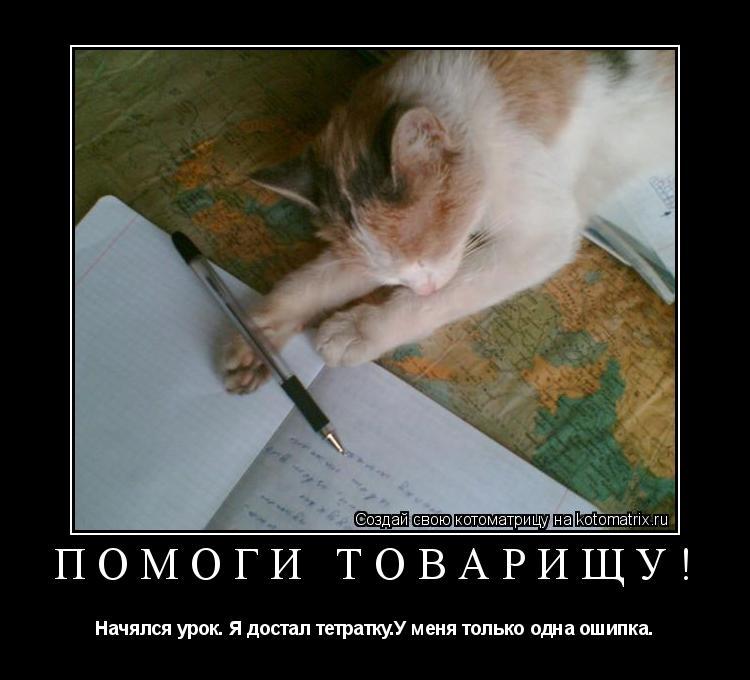 Котоматрица: Помоги товарищу! Начялся урок. Я достал тетратку.У меня только одна ошипка.