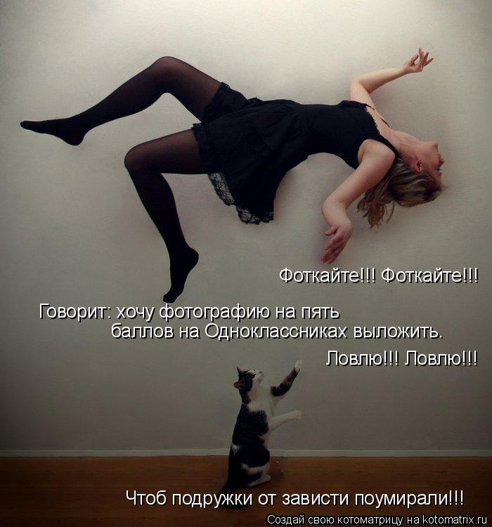 Котоматрица: Фоткайте!!! Фоткайте!!! Говорит: хочу фотографию на пять баллов на Одноклассниках выложить. Ловлю!!! Ловлю!!! Чтоб подружки от зависти поумирал