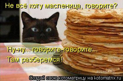 Котоматрица: Не всё коту масленица, говорите?  Ну-ну... говорите-говорите...  Там разберемся!