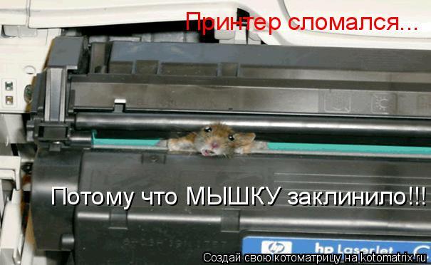 Котоматрица: Принтер сломался... Потому что МЫШКУ заклинило!!!