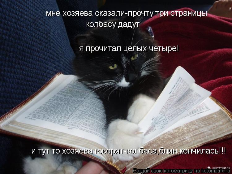 Котоматрица: мне хозяева сказали-прочту три страницы колбасу дадут я прочитал целых четыре! и тут то хозяева говорят-колбаса,блин,кончилась!!!