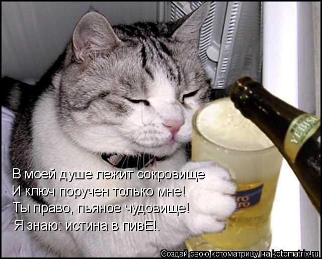 Котоматрица: В моей душе лежит сокровище И ключ поручен только мне! Ты право, пьяное чудовище! Я знаю: истина в пивЕ!.