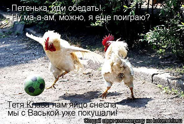 Котоматрица: - Петенька, иди обедать!.. - Ну ма-а-ам, можно, я еще поиграю? Тетя Клава нам яйцо снесла,  мы с Васькой уже покушали!