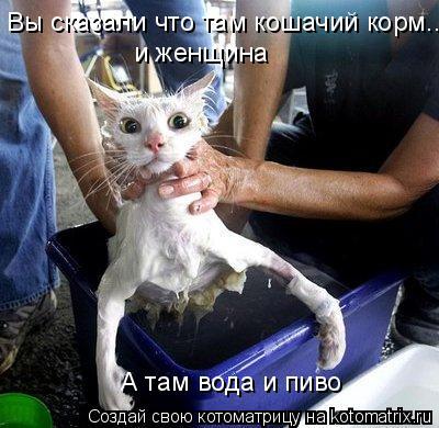 Котоматрица: Вы сказали что там кошачий корм... и женщина А там вода и пиво