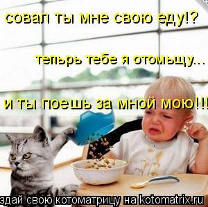 Котоматрица: и ты поешь за мной мою!!! тепьрь тебе я отомьщу... совал ты мне свою еду!?