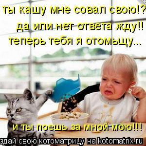 Котоматрица: ты кашу мне совал свою!? теперь тебя я отомьщу... да или нет ответа жду!! и ты поешь за мной мою!!!