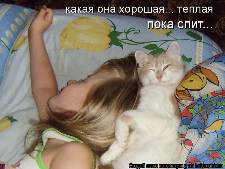 Котоматрица: какая она хорошая... теплая пока спит...