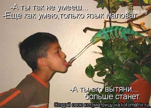 Котоматрица: -А ты так не умееш... -Ещё как умею,только язык маловат.  -А ты его вытяни... больше станет.