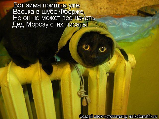 Котоматрица: Вот зима пришла уже Васька в шубе Фберже , Но он не может все начать Дед Морозу стих писать!